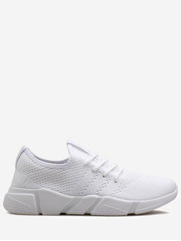Low Top Tie Up Mesh Sneakers Blanc 43
