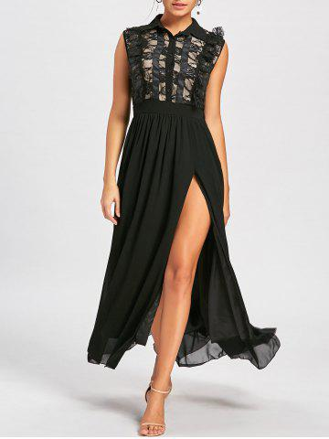 New Maxi Lace Panel High Slit Prom Dress -   Mobile