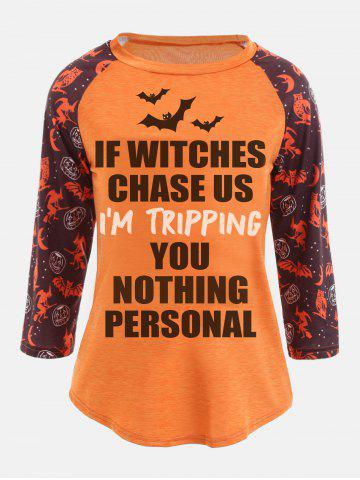 Discount Personalized Sentence Print Raglan Sleeve Halloween T-shirt ORANGE S