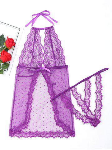 Hot Sheer Halter Babydoll with Lace PURPLE M