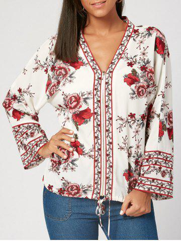 Fancy Flower Print V Neck Zip Up Blouse WHITE M