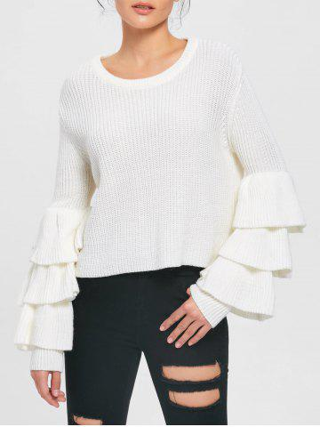 Latest Tiered Flare Sleeve Sweater WHITE S