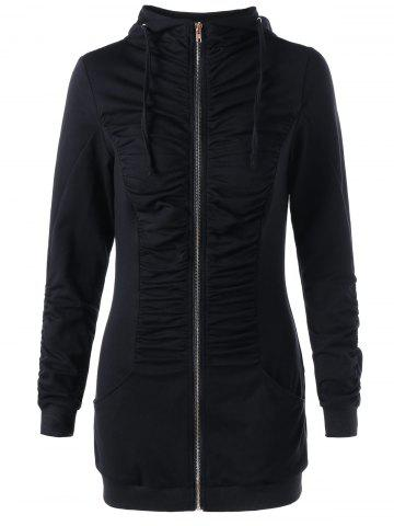 Fashion Zip Up Ruched Tunic Hoodie - M BLACK Mobile