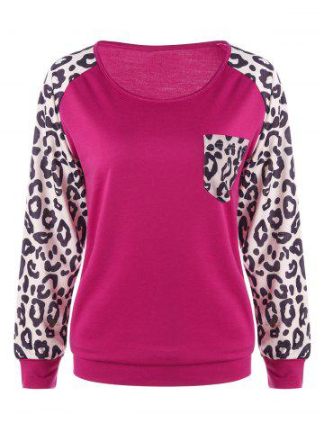 Shop Patch Pocket Leopard Trim Sweatshirt