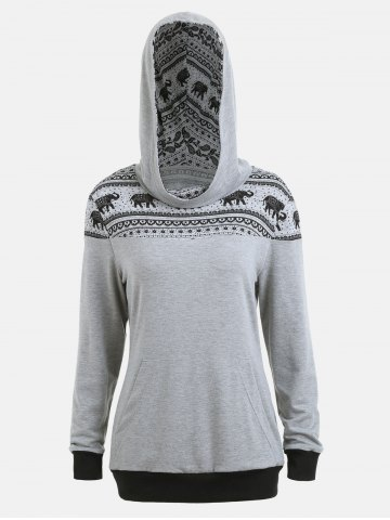 Shop Ethnic Elephant Print Kangaroo Hoodie - XL GRAY Mobile