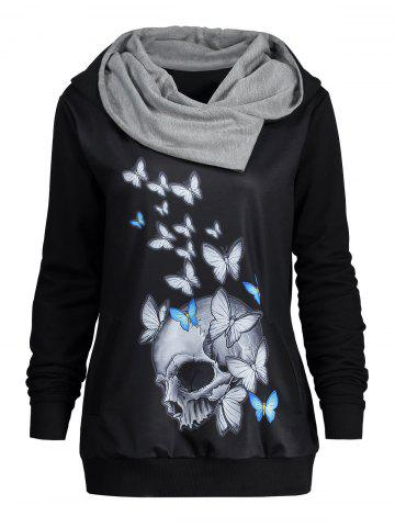 Affordable Halloween Butterfly Skull Print Heaps Collar Hoodie BLACK L