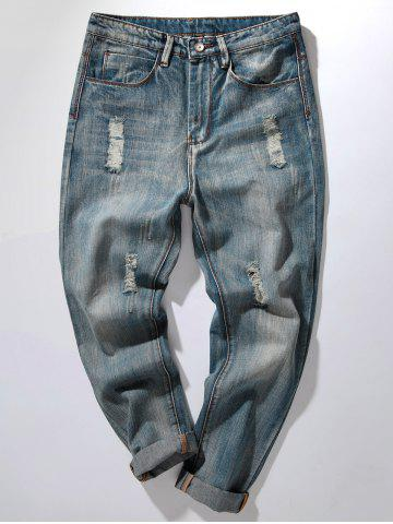 Discount Bleach Wash Distressed Harem Jeans - 32 DENIM BLUE Mobile