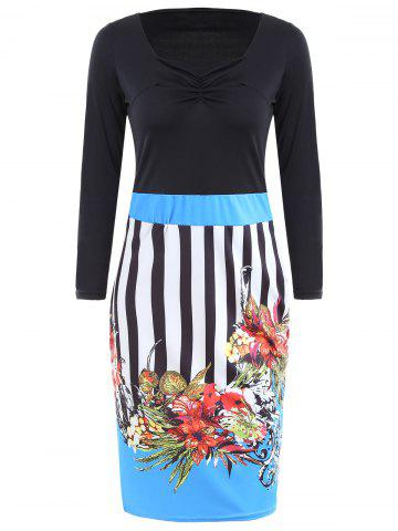Trendy Sweetheart Neck Striped Floral Bodycon Dress BLUE XL