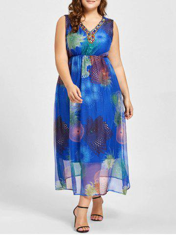 Fashion Plus Size Floral Print Beads Embellished Maxi Dress BLUE 2XL