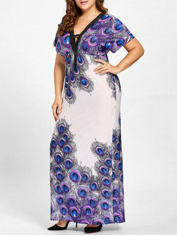 Outfits Plus Size Empire Waist Peacock Feather Print Dress - 3XL PURPLE Mobile