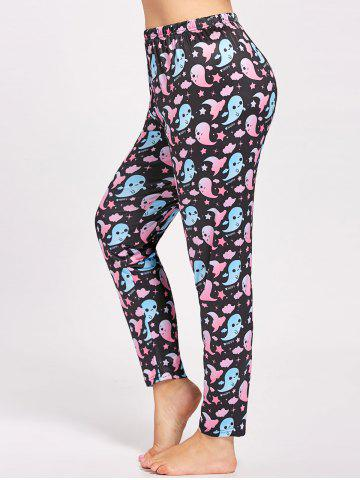 Sale Plus Size Cute Ghost Printed Halloween Pants - 4XL BLACK Mobile
