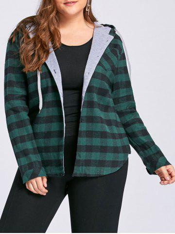 Fashion Plus Size Tartan Drawstring Hoodie GREEN 3XL