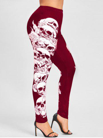 Chic Halloween Plus Size Skulls Monochrome Leggings - 4XL RED Mobile