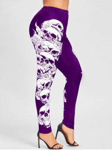 Unique Halloween Plus Size Skulls Monochrome Leggings