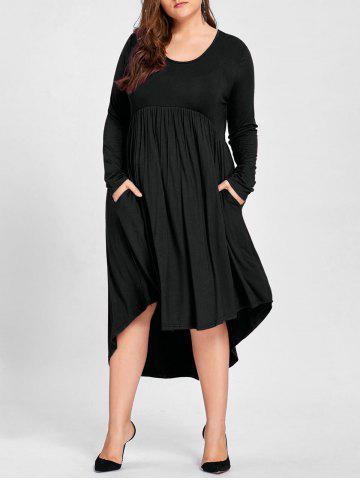 Fancy Plus Size Empire Waist High Low T Shirt Dress - 2XL BLACK Mobile