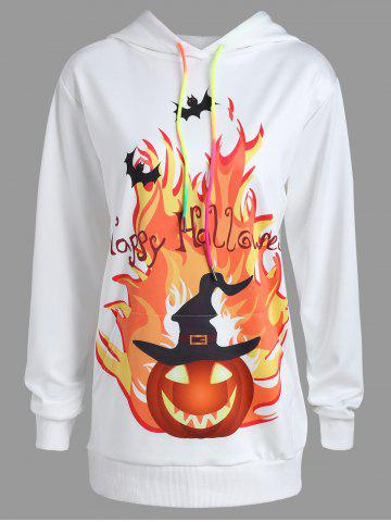 Buy Plus Size Pumpkin Happy Halloween Print Hoodie WHITE 3XL