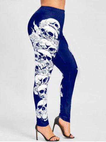 Outfits Halloween Plus Size Skulls Monochrome Leggings - 2XL BLUE Mobile