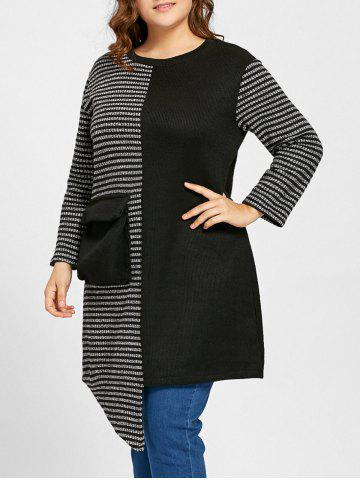 Outfit Plus Size Stripe Panel Asymmetrical Sweater