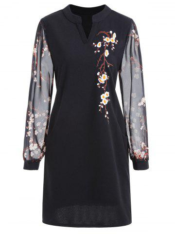 Chic Floral Embroidery Plus Size Mini Dress
