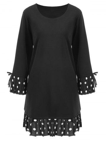 Fancy Plus Size Polka Dot Bell Sleeve Dress - 3XL BLACK Mobile