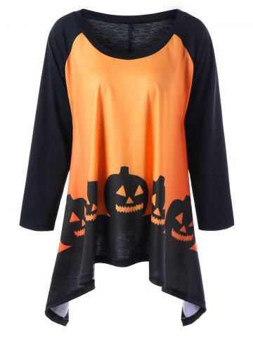 Online Plus Size Halloween Two Tone Top ORANGE YELLOW 5XL