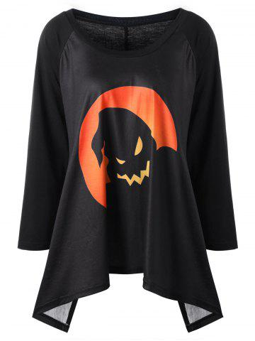 Chic Plus Size Halloween Graphic Raglan Sleeve Top - 2XL BLACK AND ORANGE Mobile