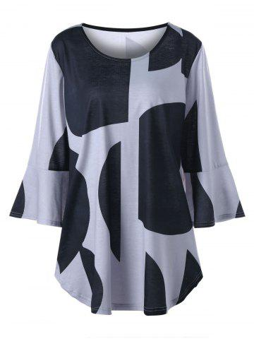 Unique Plus Size Flare Sleeve Curved Hem Top BLACK AND GREY 3XL