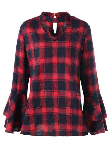 Online Plus Size Plaid Bell Sleeve Choker Blouse - 3XL RED WITH BLACK Mobile