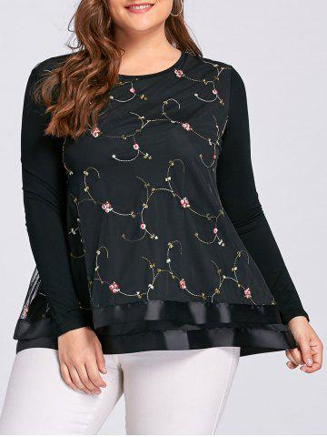 Trendy Layered Plus Size Floral Embroidered Blouse - 3XL BLACK Mobile
