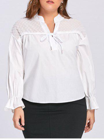Buy Plus Size Semi Sheer Drawstring Embellished Blouse - 3XL WHITE Mobile