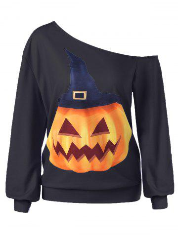 New Halloween Plus Size Skew Neck Pumpkin Print Pullover Sweatshirt - XL BLACK Mobile