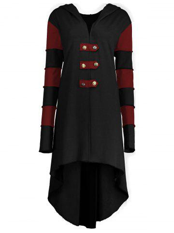 Latest Hooded Plus Size Lace-up High Low  Coat BLACK&RED XL