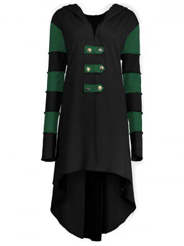 Chic Hooded Plus Size Lace-up High Low  Coat - BLACK AND GREEN 2XL Mobile