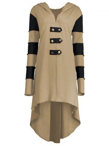 New Hooded Plus Size Lace-up High Low  Coat KHAKI 2XL
