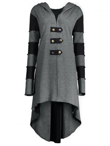 Cheap Hooded Plus Size Lace-up High Low  Coat GRAY 2XL