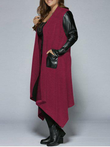 Shop Plus Size PU Leather Trim Longline Asymmetrical Coat RED 2XL