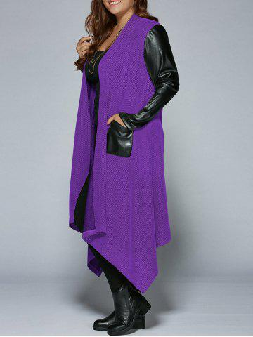 Best Plus Size PU Leather Trim Longline Asymmetrical Coat - 3XL PURPLE Mobile