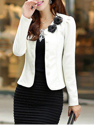 Outfits Slim Fit Blazer with Bowknot - L WHITE Mobile