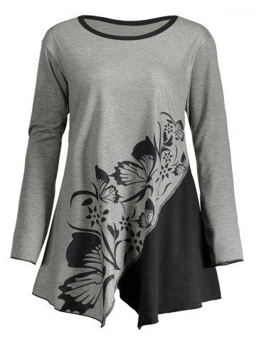 Outfit Butterfly Play Flower Plus Size Split T-shirt GRAY 2XL