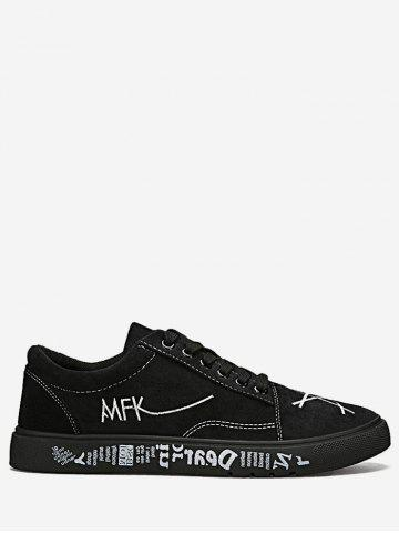 Store Graphic Print Canvas Sneakers BLACK 40