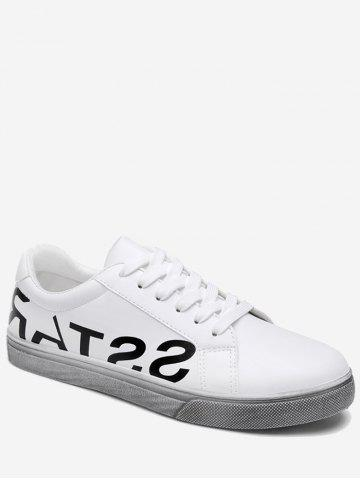 Fancy Graphic Faux Leather Sneakers - 40 WHITE Mobile