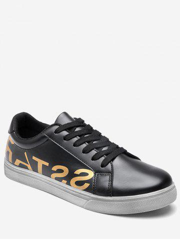 Chic Graphic Faux Leather Sneakers - 43 BLACK Mobile