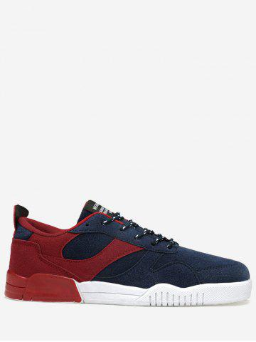 Trendy Color Block Faux Suede Sneakers RED 43