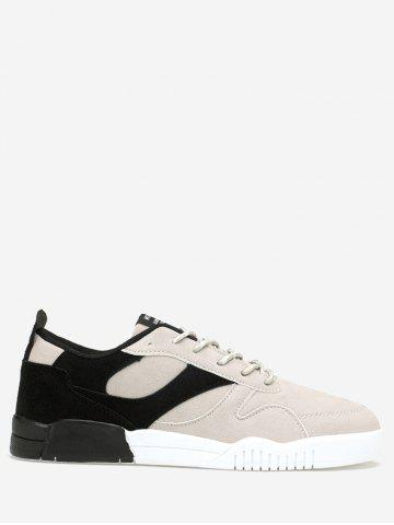 Hot Color Block Faux Suede Sneakers - 43 BLACK Mobile