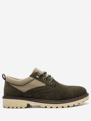Discount Color Block Faux Suede Casual Shoes - 43 ARMY GREEN Mobile