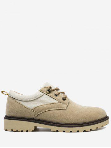 Hot Color Block Faux Suede Casual Shoes - 40 KHAKI Mobile