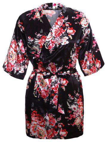 New Satin Wrapped Sleepwear Kimono BLACK L