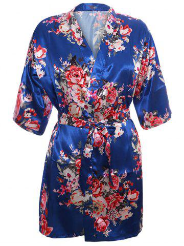 Shop Satin Wrapped Sleepwear Kimono - M BLUE Mobile
