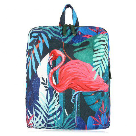 New Animal Print Leaves Backpack RED