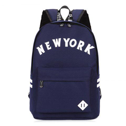 Online Striped Letter Print Backpack DEEP BLUE